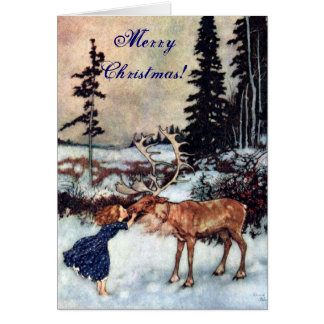 Vintage Gerda and the Reindeer by Edmund Dulac Greeting Card