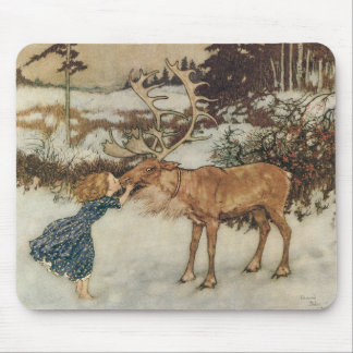 Vintage Gerda and the Reindeer by Edmund Dulac Mouse Mat