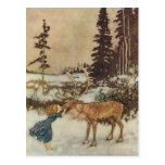 Vintage Gerda and the Reindeer by Edmund Dulac Post Card