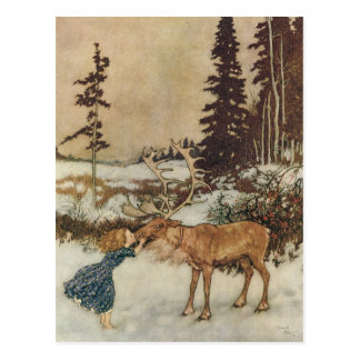 Vintage Gerda and the Reindeer by Edmund Dulac Postcard