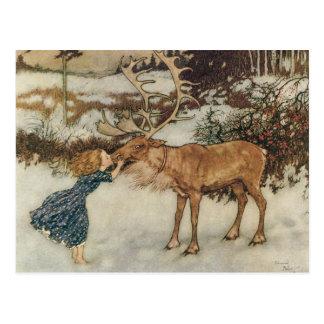 Vintage Gerda and the Reindeer by Edmund Dulac Postcard