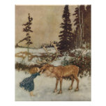 Vintage Gerda and the Reindeer by Edmund Dulac Posters