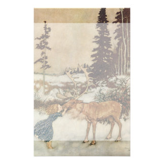 Vintage Gerda and the Reindeer by Edmund Dulac Stationery