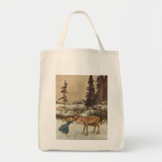 Vintage Gerda and the Reindeer by Edmund Dulac Canvas Bag