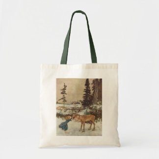 Vintage Gerda and the Reindeer by Edmund Dulac Tote Bags