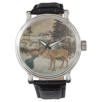 Vintage Gerda and the Reindeer by Edmund Dulac Wrist Watches