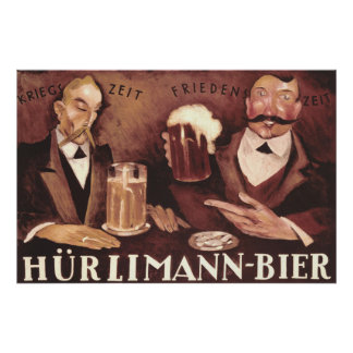 Vintage German Beer Bar Pub Art Poster Hurlimann