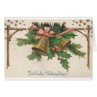 Vintage German Christmas Bells Greeting Card