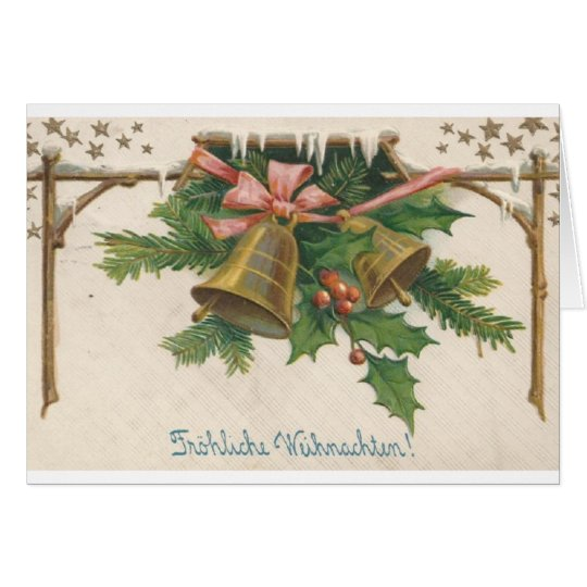 Vintage German Christmas Bells Greeting Card