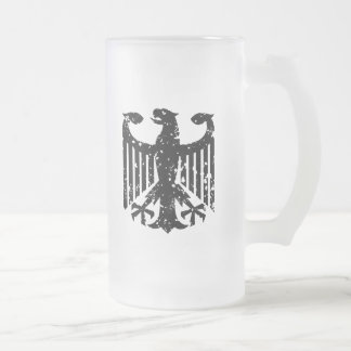 Vintage German Eagle Frosted Glass Beer Mug