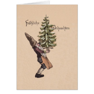 Vintage German Gnome Christmas Card