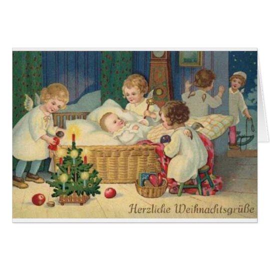 Vintage German Herzliche Weihnachtsgrüße Card
