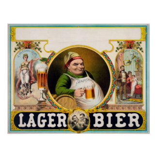 Vintage German Lager Beer Advertisement Poster