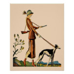 Vintage German Magazine Cover Woman with Greyhound Poster