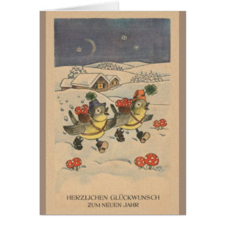 Vintage German New Year Greeting Card