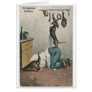 Vintage German Pair of Tricky Dachshunds, Card