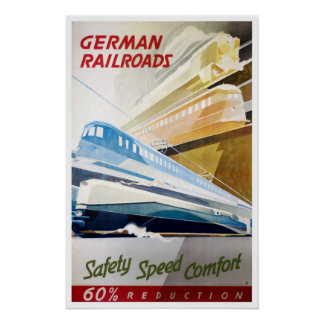 Vintage German Railroads Poster