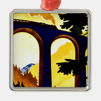 Vintage German Railways Travel Poster Christmas Ornament