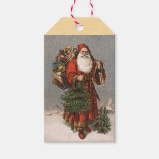 Vintage German Santa Claus Christmas Gift Tags