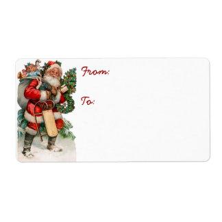 Vintage German Santa Gift Tag Labels