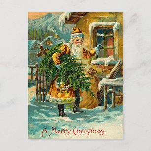 Vintage German Santa in Yellow Holiday Postcard