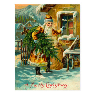 Vintage German Santa in Yellow Postcard