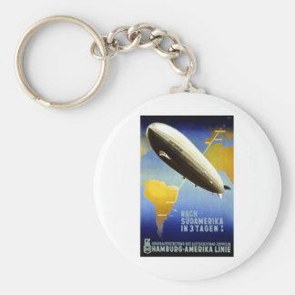 Vintage German Travel Poster Basic Round Button Key Ring