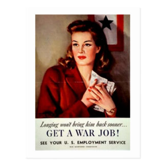Vintage Get A War Job Women's Poster Postcard