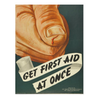 Vintage Get First Aid at Once Postcard