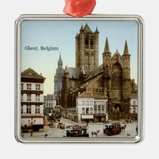 Vintage - Ghent, Belgium Silver-Colored Square Decoration