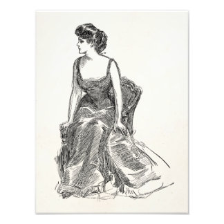 Vintage Gibson Girl Edwardian Retro Woman Portrait Photo Print