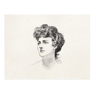 Vintage Gibson Girl Edwardian Retro Woman Portrait Post Card