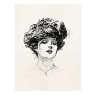 Vintage Gibson Girl Edwardian Retro Woman Portrait Post Cards