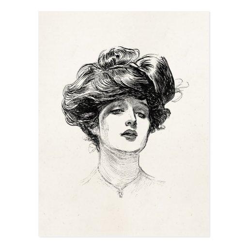 Vintage Gibson Girl Edwardian Retro Woman Portrait Post Cards