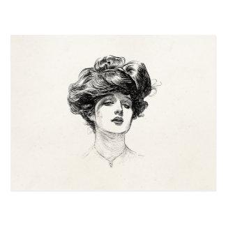 Vintage Gibson Girl Edwardian Retro Woman Portrait Postcards