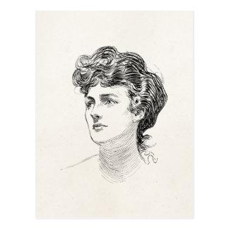 Vintage Gibson Girl Edwardian Retro Woman Portrait Postcard