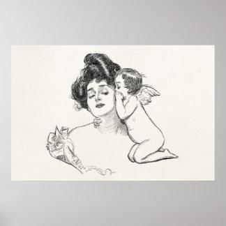 Vintage Gibson Girl Edwardian Woman Baby Cherub Poster