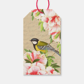 Vintage gift tags with bird and pink flowers