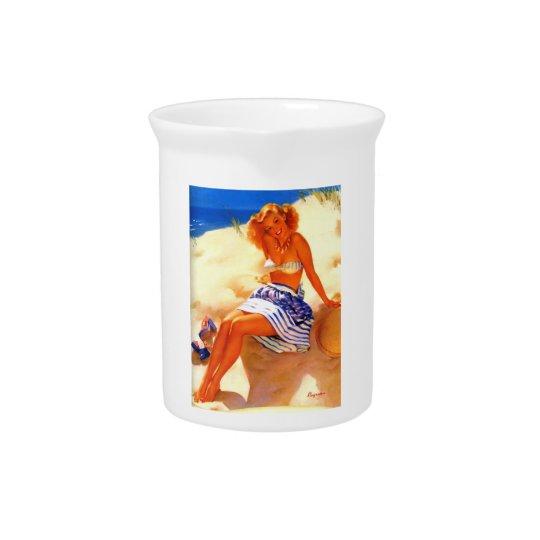 Vintage Gil Elvgren Beach Summer Pin up Girl Drink Pitcher