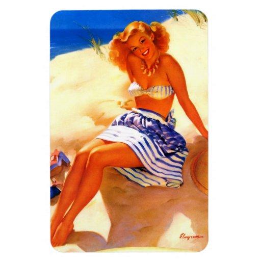 Vintage Gil Elvgren Beach Summer Pin up Girl Rectangular Magnets