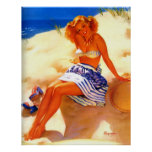 Vintage Gil Elvgren Beach Summer Pin up Girl Print