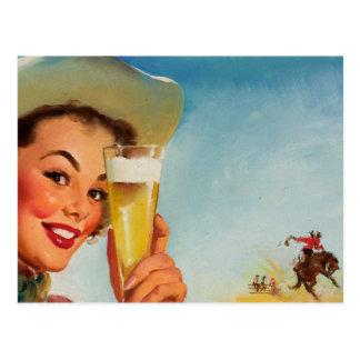 Vintage Gil Elvgren Beer Western Pin up Girl Postcards