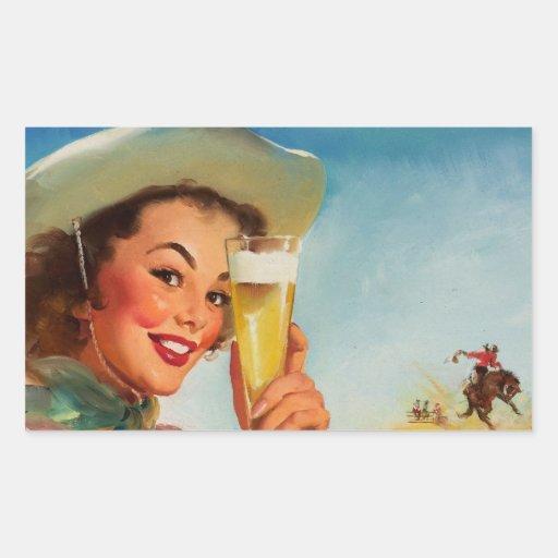 Vintage Gil Elvgren Beer Western Pin up Girl Stickers