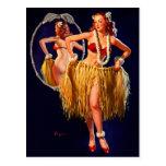 Vintage Gil Elvgren Hula Hawaiian Pin UP Girl Postcard