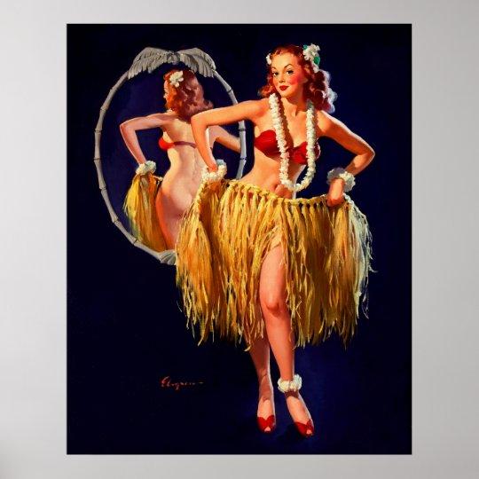 Vintage Gil Elvgren Hula Hawaiian Pin UP Girl Poster