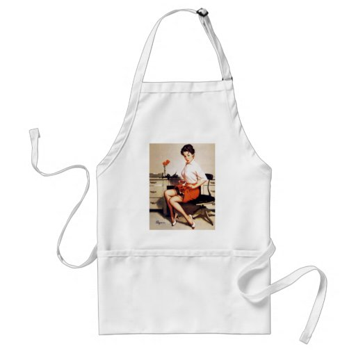 Vintage Gil Elvgren Office Corporate Pinup Girl Apron