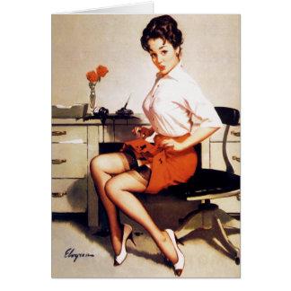 Vintage Gil Elvgren Office Corporate Pinup Girl Card