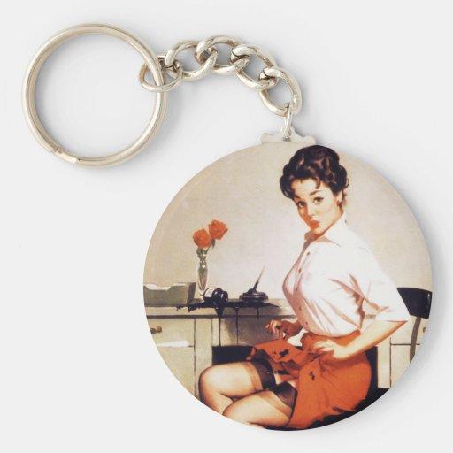 Vintage Gil Elvgren Office Corporate Pinup Girl Key Chain