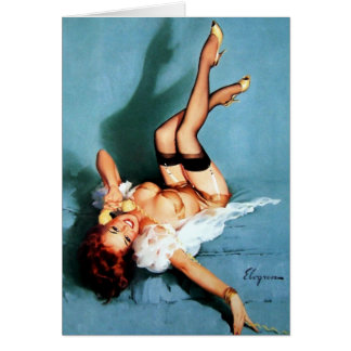 Vintage Gil Elvgren Pin UP Girl on The Phone Card