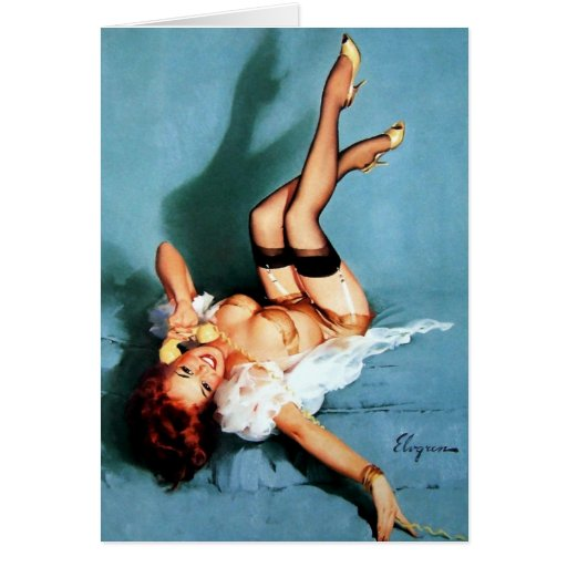 Vintage Gil Elvgren Pin UP Girl on The Phone Greeting Cards
